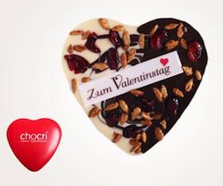 Geschenkidee zum Valentinstag: Individuelles Schokoladenherz von chocri