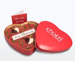 Muttertagsgeschenk unter 10 Euro: Schokolade in Herzform