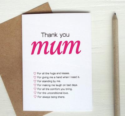 """Geschenkidee zum Muttertag unter 10 Euro: Postkarte """"Thank You Mum"""""""