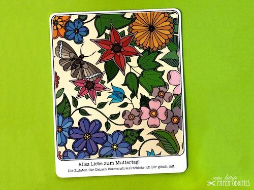 Postkarte mit Blumensamen gefüllt