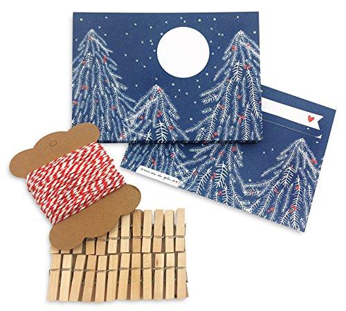 Briefumschlag Adventskalender Set