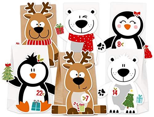 Papiertüten Adventskalender zum Befüllen für Kinder