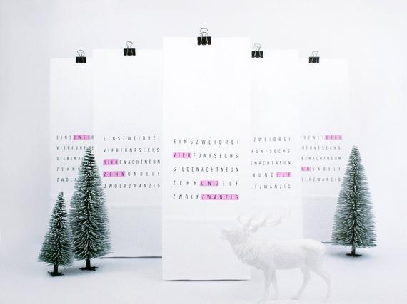 Weiße Papiertüten zum Adventskalender basteln