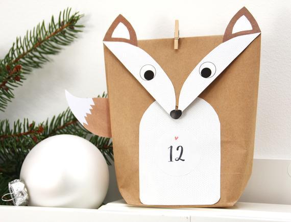 Fuchs-Papiertüten Adventskalender zum selber füllen