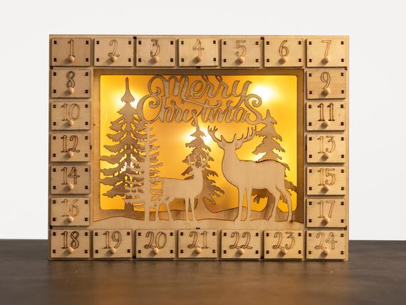 Holz-Adventskalender zum Befüllen