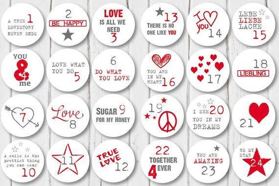 Adventskalender Aufkleber für Verliebte