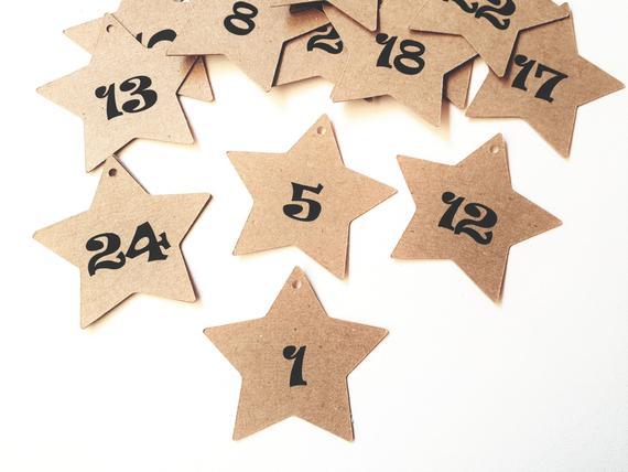 24 Stern-Zahlenanhänger