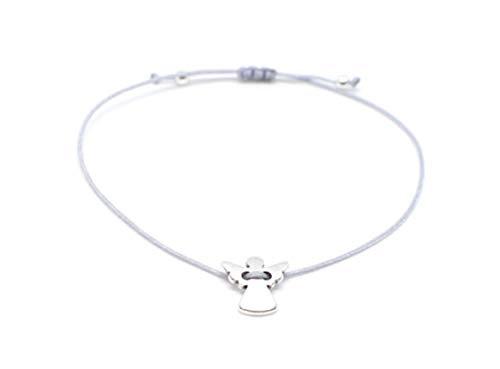 Filigranes Schutzengel-Armband mit grauem Textilband und kleinem silbernen Schutzengel-Anhänger