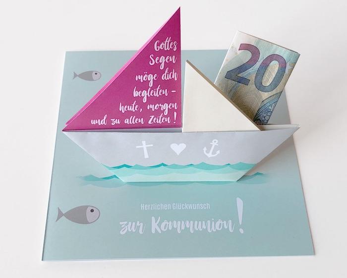 Geldgeschenk zur Kommunion: Karte mit Segelschiff