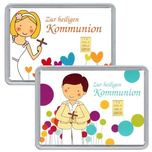 Goldbarren aus 1g Feingold in hübsch illustrierter Verpackung zur heiligen Kommunion