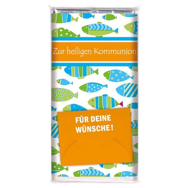 Schokolade zur Kommunion mit Umschlag für ein Geldgeschenk