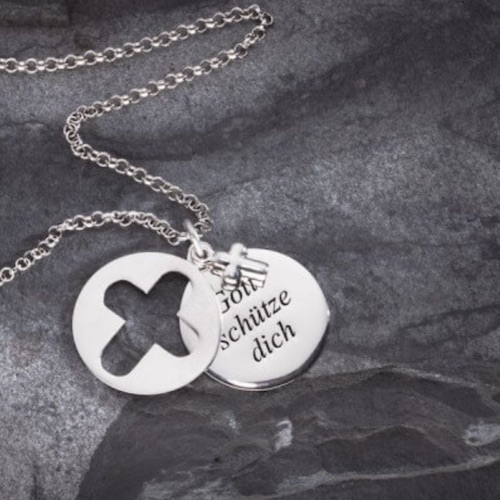 "Silberkette mit Anhänger ""Gott schütze dich"""