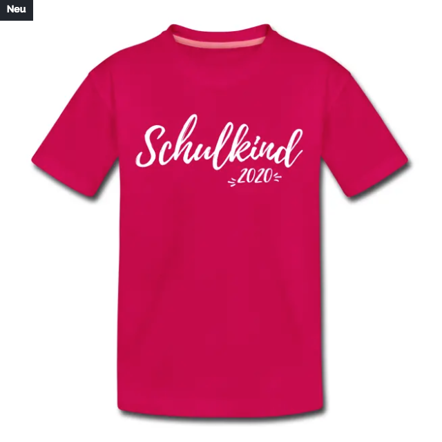 T-Shirt zur Einschulung mit Aufdruck Schulkind 2020