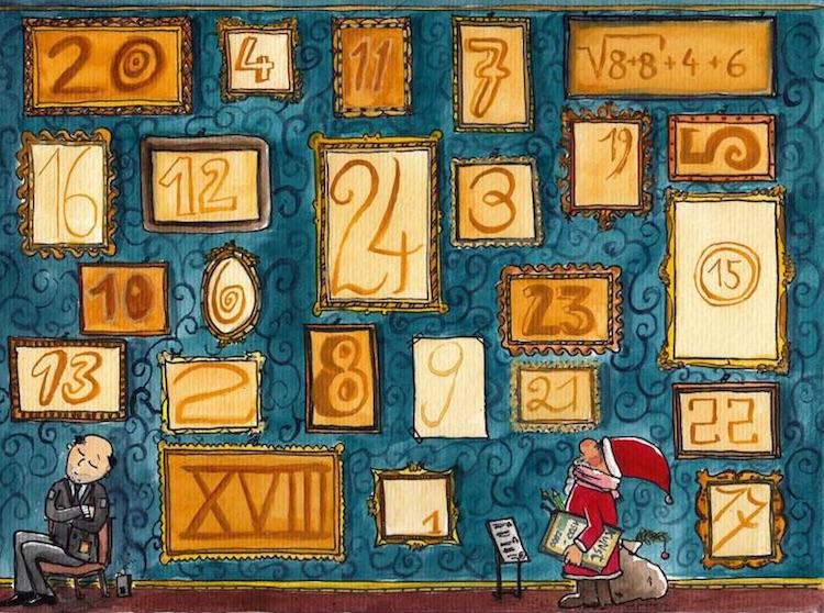 Illustrierter Adventskalender mit neuen Bildern hinter jedem Türchen