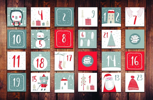 DIY Rubbel-Adventskalender Karten zum Ausfüllen