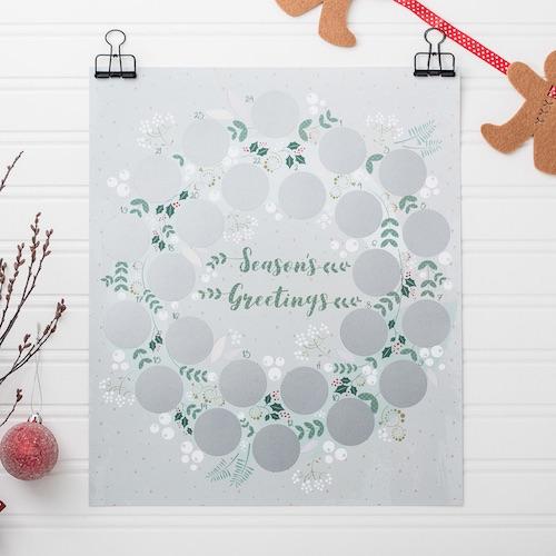 Origineller Rubbel-Adventskalendern mit illustrierten Bildern zum Freirubbeln