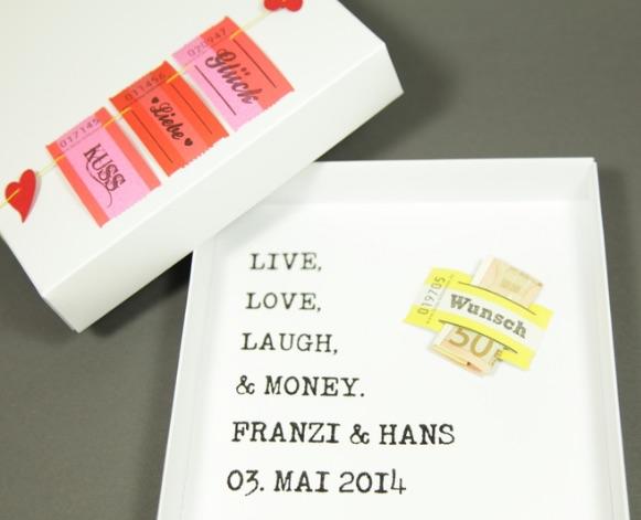 """Geldgeschenk zur Hochzeit """"Live, Love, Laugh"""""""