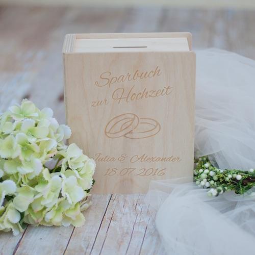 Sparbuch zur Hochzeit - personalisierte Spardose