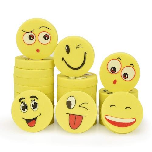 Wichtelgeschenke für Kinder: Lachende Radiergummi Smileys
