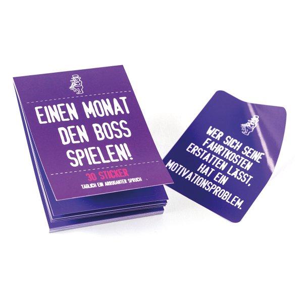 """Wichtelideen für Kollegen: Stickerheft """"30 Tage den Boss spielen"""""""