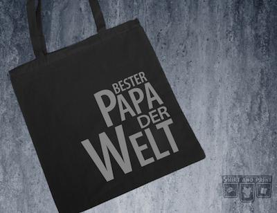 """Jutebeutel mit Aufschrift """"Bester Papa der Welt"""" als Geschenk zum Vatertag"""