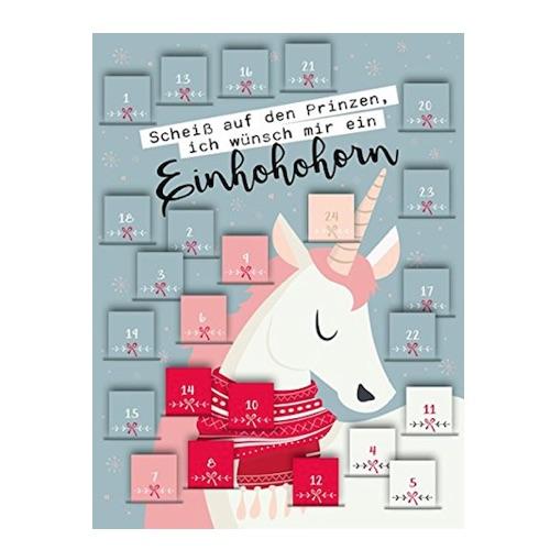 Einhorn Adventskalender mit lustigen Einhorn-Sprüchen
