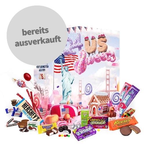 US Sweets Weihnachtskalender gefüllt mit amerikanischen Süßigkeiten