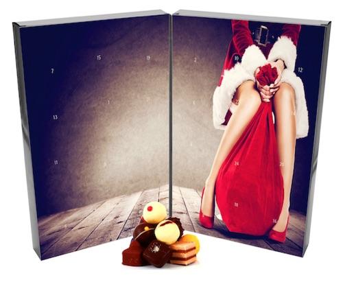 Adventskalender für Männer: Pralinen Adventskalender mit Mrs. Santa Motiv