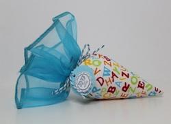ABC Mini-Schultüte aus Stoff für Geldgeschenk zum Schulanfang