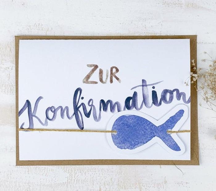 Glückwunschkarte zur Konfirmation mit Fisch-Motiv