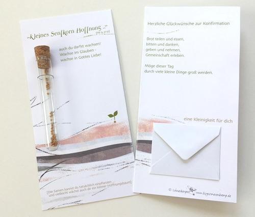 """Verpackung für Geldgeschenk zur Konfirmation: Flaschenpost """"Kleines Senfkorn Hoffnung"""""""