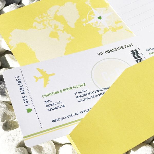 Karte für das Geldgeschenk: Boarding Pass für die Flitterwochen