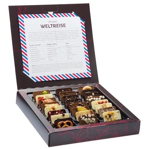 Geldgeschenk für die Hochzeitsreise kreativ verpacken: Schokoladen Weltreise