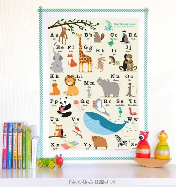 Geschenkidee zur Einschulung: Tier ABC-Poster