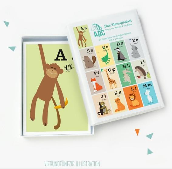 26 ABC Tieralphabet-Karten