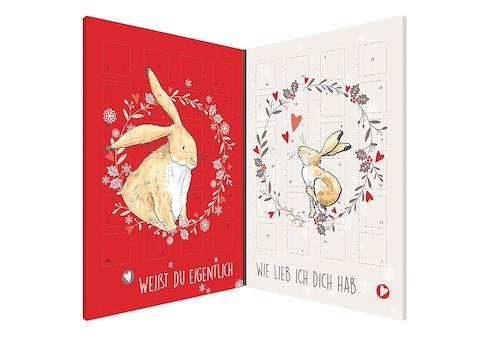 Adventskalender für Paare gefüllt mit 48 Schokoladen-Herzen