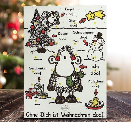 """Adventskalender für Verliebte: Sheepworld Adventskalender """"Ohne dich ist Weihnachten doof"""""""