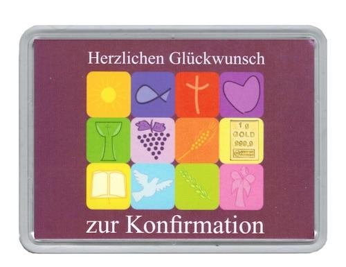 Goldbarren aus 1g Feingold mit einer Motivverpackung zur Konfirmation