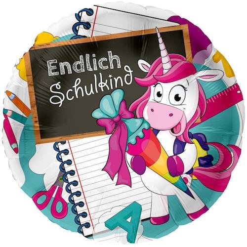"""Einhorn-Ballon """"Endlich Schulkind"""""""