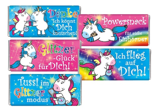 Süßes für die Einhorn-Schultüte: Mini-Schokolade mit Einhorn-Motiv