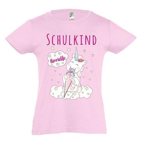Einhorngeschenke zur Einschulung: Unicorn T-Shirt mit Namen