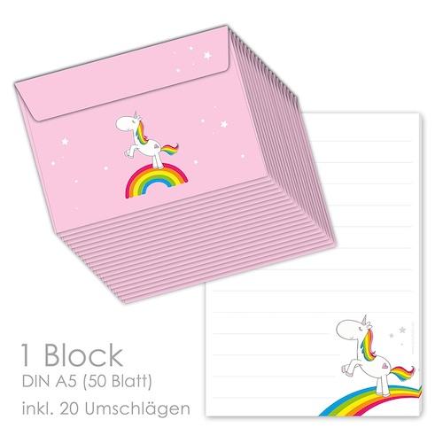 Einhorngeschenk zum Schulanfang: Briefpapier mit Regenbogen Einhorn