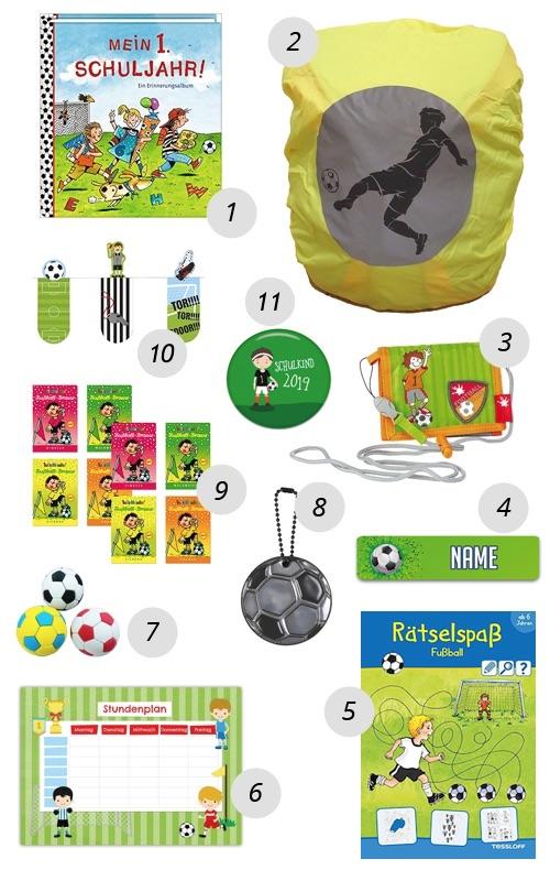 Schultüte für Jungs füllen - Beispielbild mit 11 kleinen Geschenken für in die Fussball Schultüte