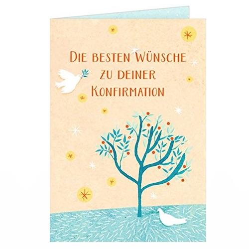 Beispiel: Karte zur Konfirmation mit Lebensbaum Illustration und Friedenstauben