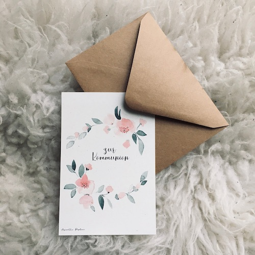 Beispiel: Kommunionkarte mit Blumen-Aquarell