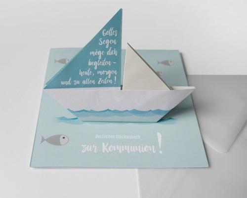 Beispiel: Kommunionkarte mit Schiff für Geldgeschenk