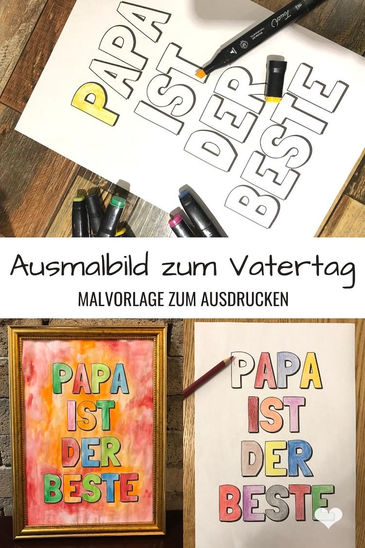 Ausmalbild zum Vatertag - Druckvorlage zum Ausdrucken
