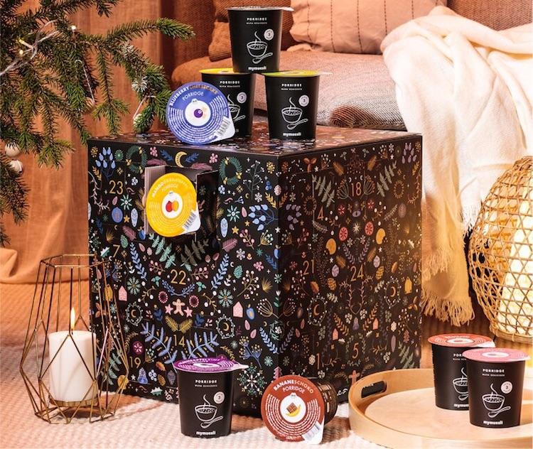 Origineller Porridge Adventskalender gefüllt mit 24x Haferflocken von mymuesli - 24 x Haferflocken statt Schokolade