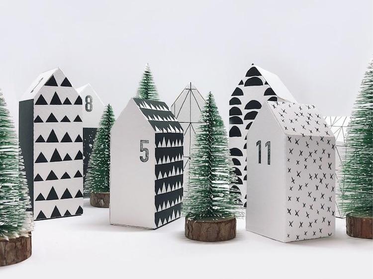 DIY Adventskalender: 24 Häuser als Bastelbogen