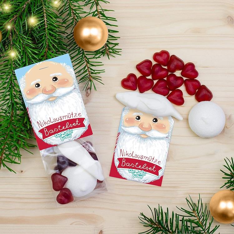 Süßes Nikolaus-Mützen Bastelset aus Süßigkeiten